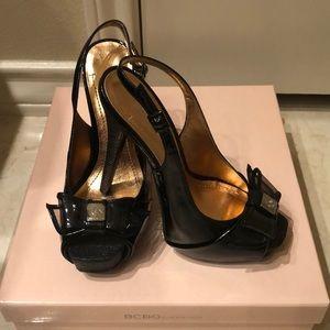 New BCBG Peep toe black heels